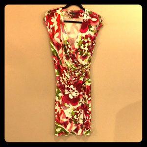 🌺 Tommy Bahama Floral Dress Side Gathered V Neck